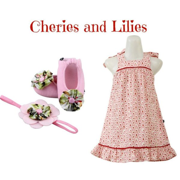 Cheries and Lilies Baby Girl Dress Set 9-18 Months