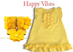 Happy Vibes Baby Girl Dress Set 9-18 Months