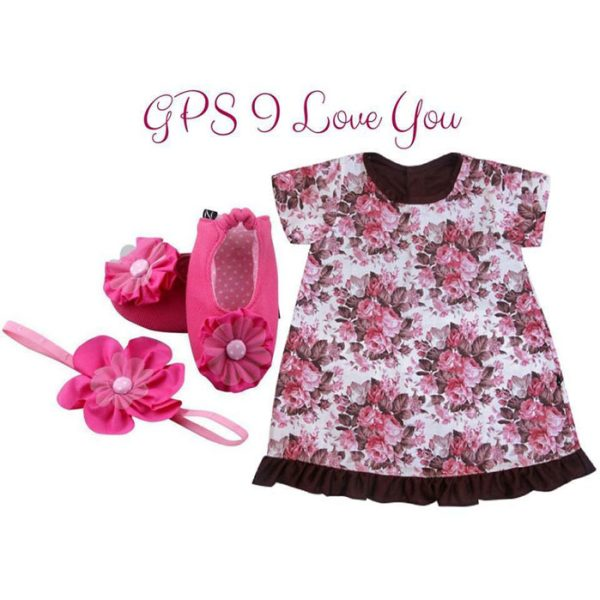 GPS I Love You Baby Girl Dress Set 3-9 Months