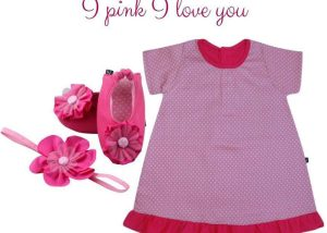 I Pink I Love You Baby Girl Dress Set 3-9 Months