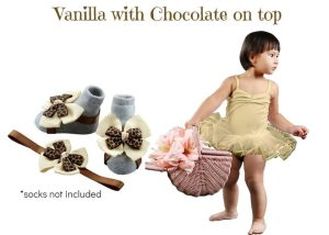 Vanilla With Chocolate On Top Baby Girl Dress Set 3-18 Months