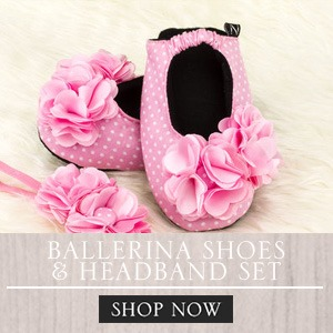 Baby Girl Ballerina Shoes and Headband Set Banner