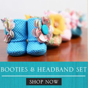 Baby Girl Booties and Headband Set